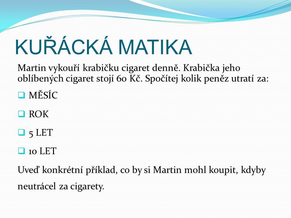 KUŘÁCKÁ MATIKA Martin vykouří krabičku cigaret denně. Krabička jeho oblíbených cigaret stojí 60 Kč. Spočítej kolik peněz utratí za:  MĚSÍC  ROK  5
