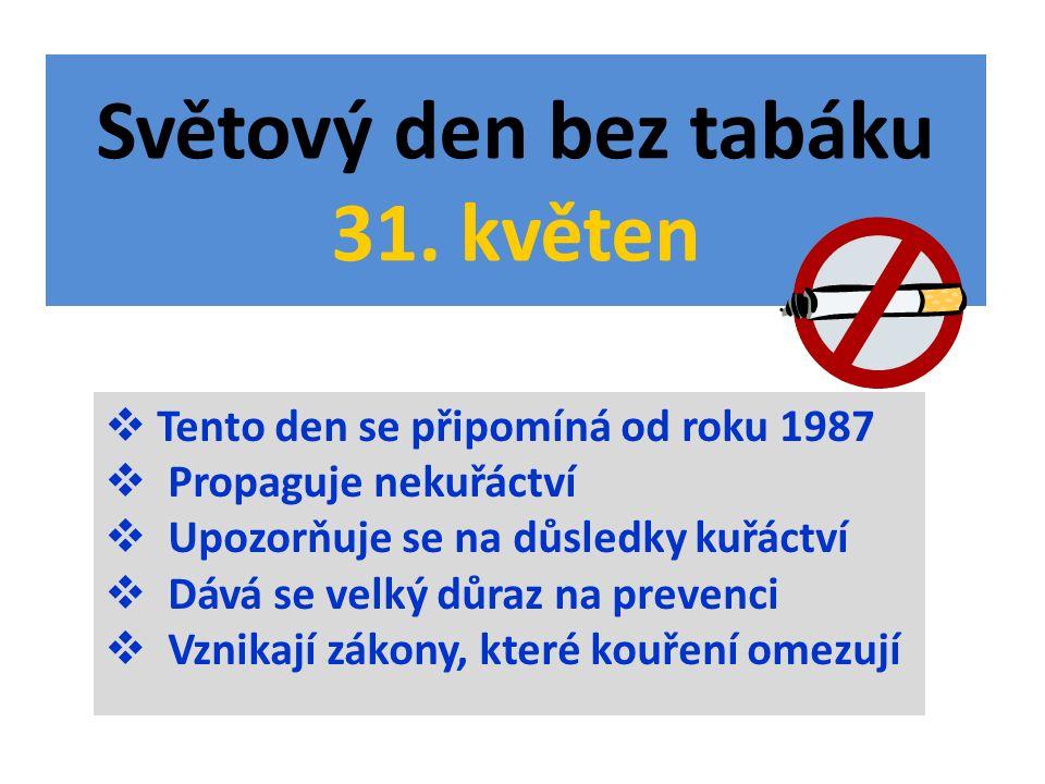 Světový den bez tabáku 31. květen  Tento den se připomíná od roku 1987  Propaguje nekuřáctví  Upozorňuje se na důsledky kuřáctví  Dává se velký dů