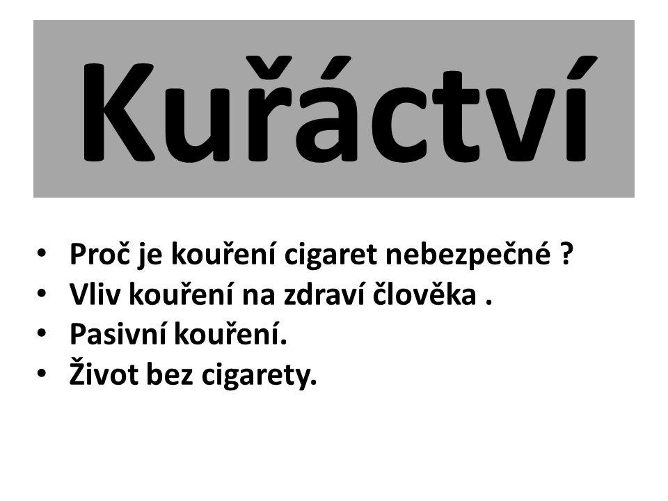Kuřáctví Proč je kouření cigaret nebezpečné ? Vliv kouření na zdraví člověka. Pasivní kouření. Život bez cigarety.