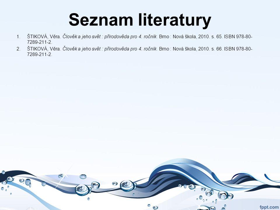 Seznam literatury 1.ŠTIKOVÁ, Věra. Člověk a jeho svět : přírodověda pro 4. ročník. Brno : Nová škola, 2010. s. 65. ISBN 978-80- 7289-211-2. 2.ŠTIKOVÁ,