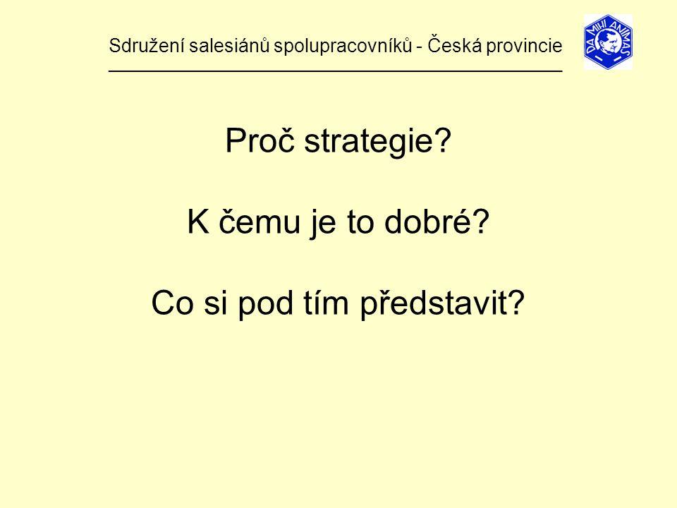 Sdružení salesiánů spolupracovníků - Česká provincie ______________________________________________________________ Proč strategie.