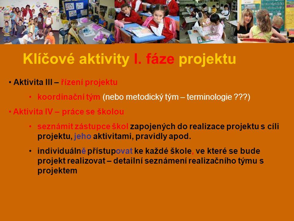 Klíčové aktivity I. fáze projektu Aktivita III – řízení projektu koordinační tým (nebo metodický tým – terminologie ???) Aktivita IV – práce se školou