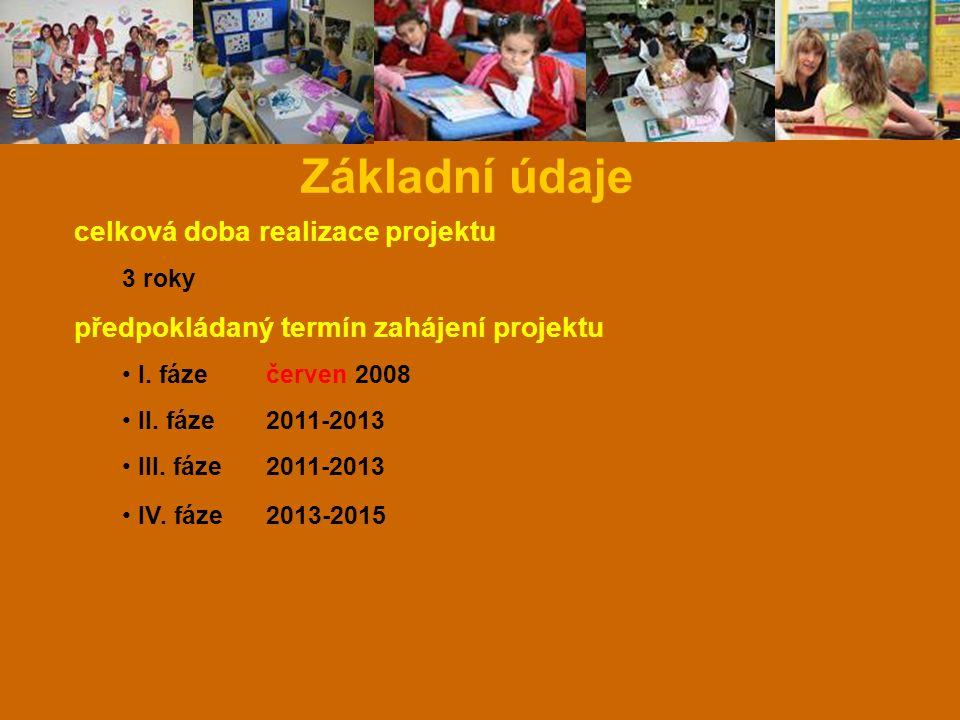 Základní údaje celková doba realizace projektu 3 roky předpokládaný termín zahájení projektu I. fáze červen 2008 II. fáze 2011-2013 III. fáze 2011-201