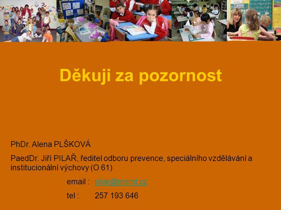 Děkuji za pozornost PhDr. Alena PLŠKOVÁ PaedDr. Jiří PILAŘ, ředitel odboru prevence, speciálního vzdělávání a institucionální výchovy (O 61) email :pi