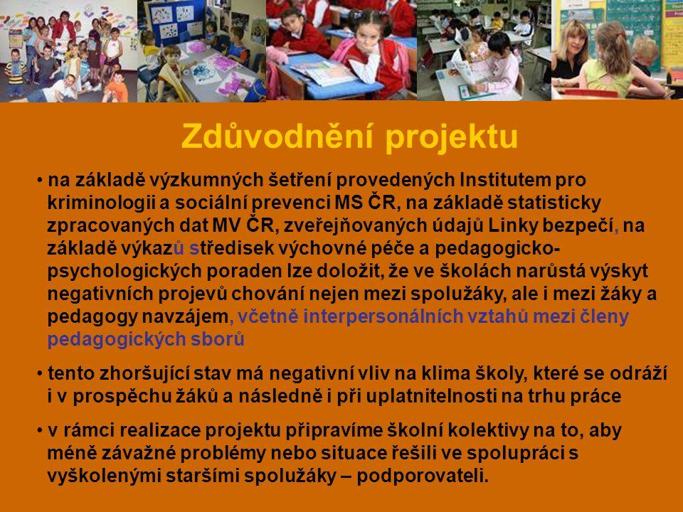 Zdůvodnění projektu na základě výzkumných šetření provedených Institutem pro kriminologii a sociální prevenci MS ČR, na základě statisticky zpracovaný