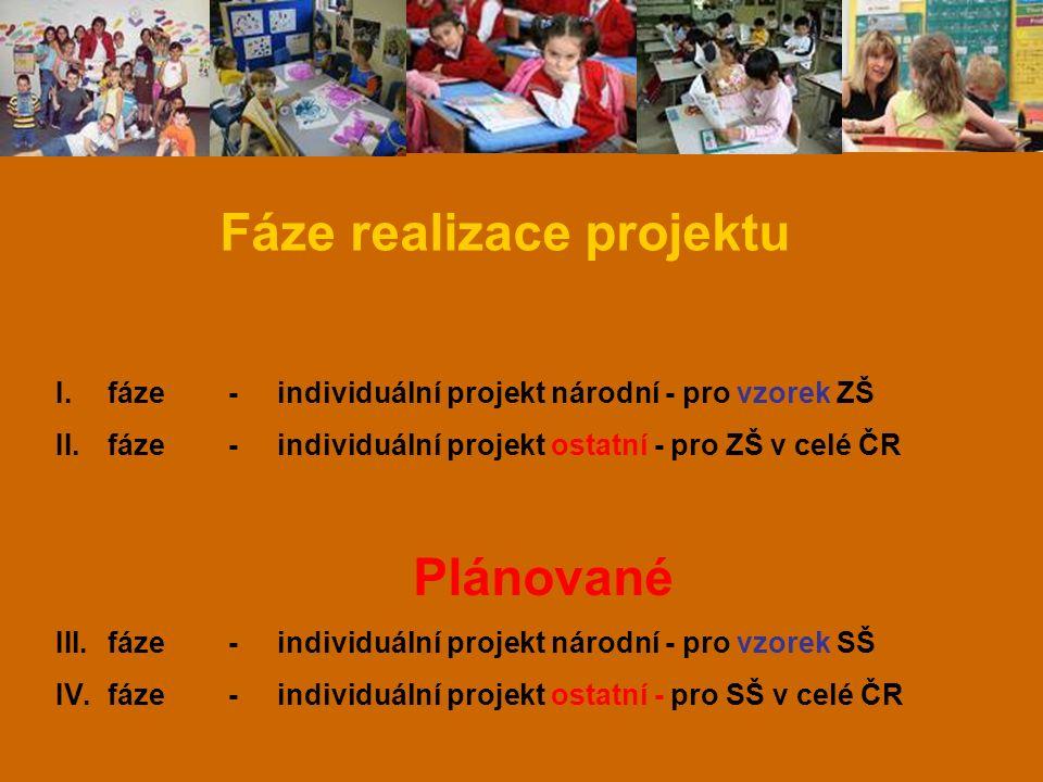 Fáze realizace projektu I.fáze - individuální projekt národní - pro vzorek ZŠ II.fáze - individuální projekt ostatní - pro ZŠ v celé ČR Plánované III.