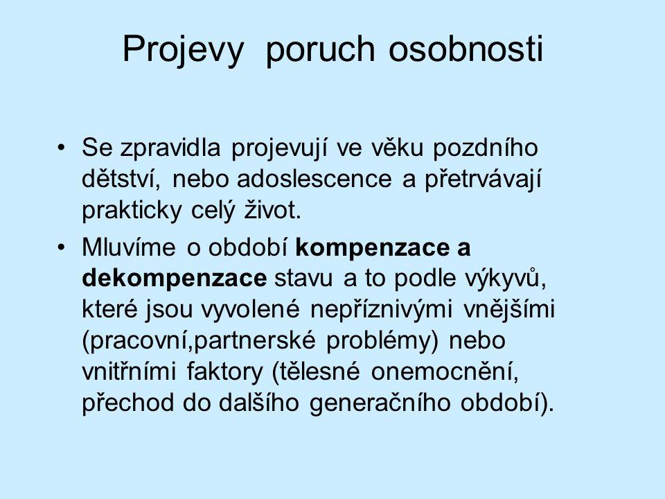Specifické poruchy osobnosti v klasifikaci MKN-10: F60 -Paranoidní porucha osobnosti -Schizoidní porucha osobnosti -Disociální porucha osobnosti -Emočně nestálá porucha osobnosti -Histriónská porucha osobnosti -Anankastická porucha osobnosti -Anxiózní porucha osobnosti -Závislá porucha osobnosti -Jiné: -Smíšené poruchy osobnosti -Narcistická porucha osobnosti -Pasivně agresivní porucha osobnosti