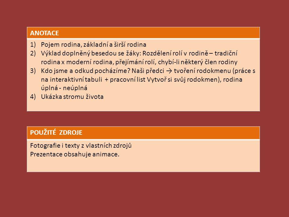 ANOTACE 1)Pojem rodina, základní a širší rodina 2)Výklad doplněný besedou se žáky: Rozdělení rolí v rodině – tradiční rodina x moderní rodina, přejímá