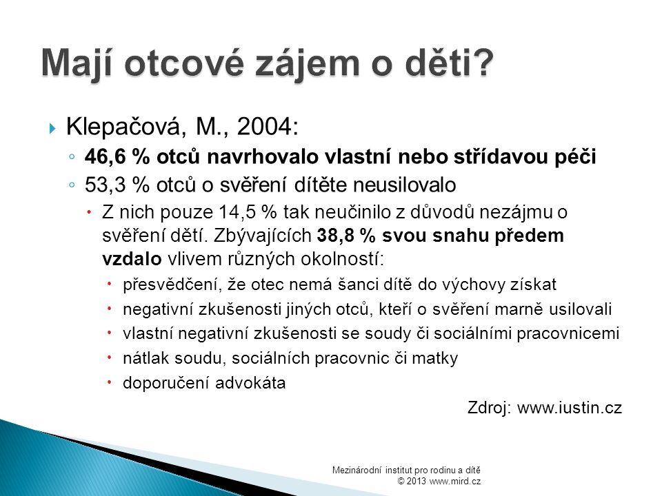  Klepačová, M., 2004: ◦ 46,6 % otců navrhovalo vlastní nebo střídavou péči ◦ 53,3 % otců o svěření dítěte neusilovalo  Z nich pouze 14,5 % tak neučinilo z důvodů nezájmu o svěření dětí.