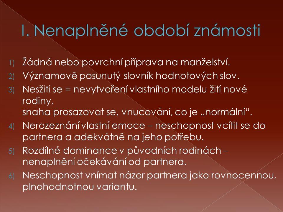 1) Žádná nebo povrchní příprava na manželství. 2) Významově posunutý slovník hodnotových slov.