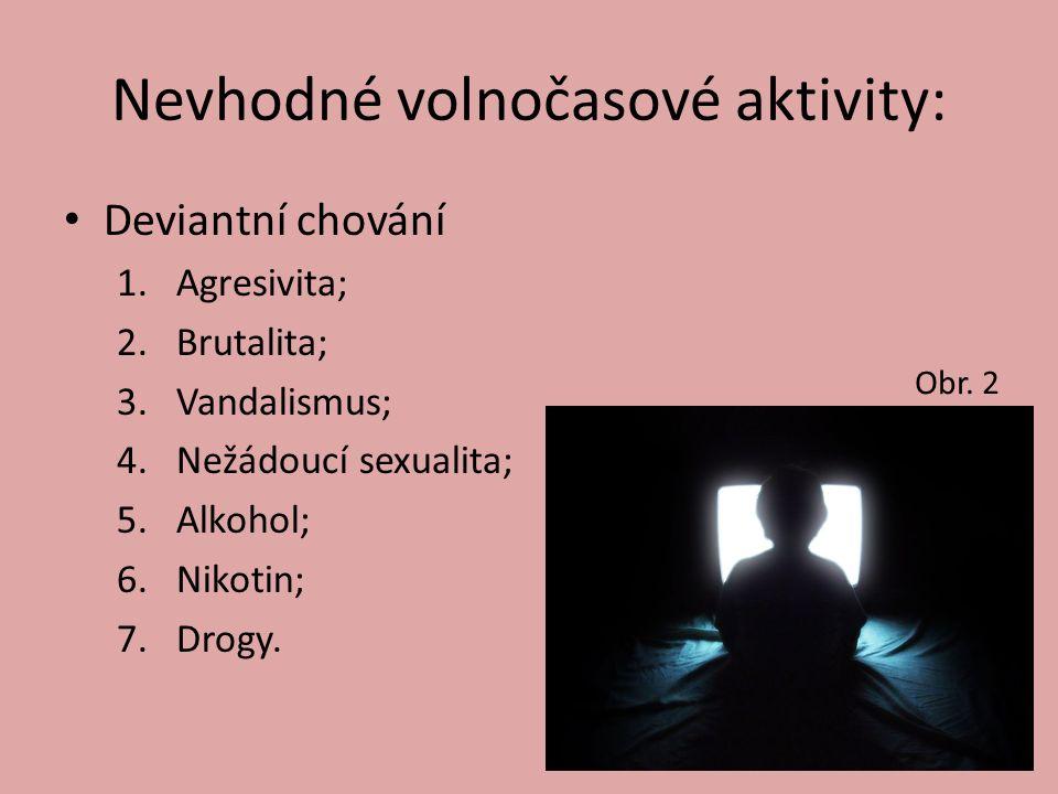 Nevhodné volnočasové aktivity: Deviantní chování 1.Agresivita; 2.Brutalita; 3.Vandalismus; 4.Nežádoucí sexualita; 5.Alkohol; 6.Nikotin; 7.Drogy.