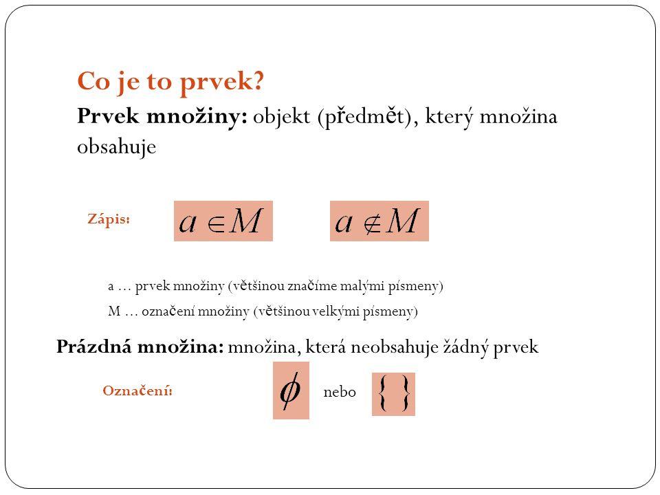 Zápis: a... prvek množiny (v ě tšinou zna č íme malými písmeny) M...
