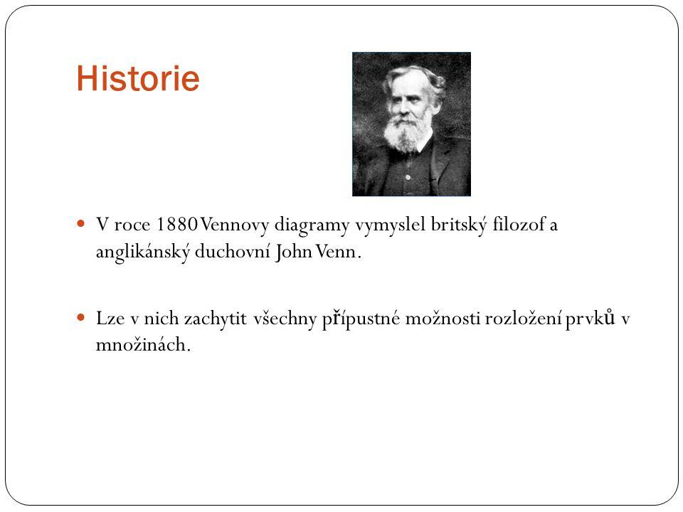Historie V roce 1880 Vennovy diagramy vymyslel britský filozof a anglikánský duchovní John Venn.