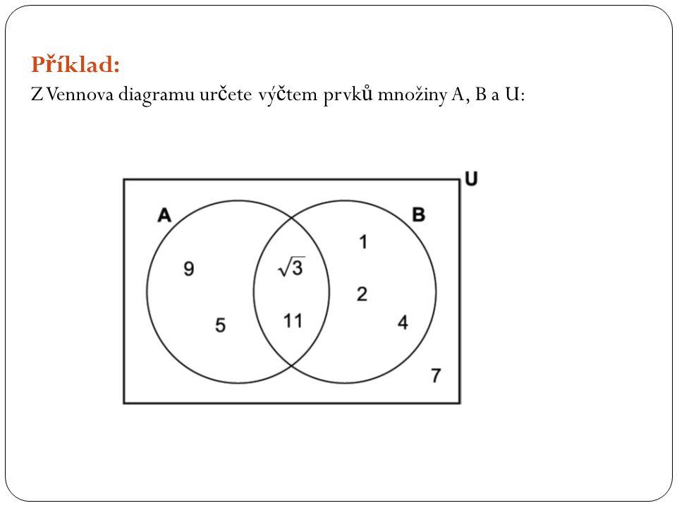 P ř íklad: Z Vennova diagramu ur č ete vý č tem prvk ů množiny A, B a U: