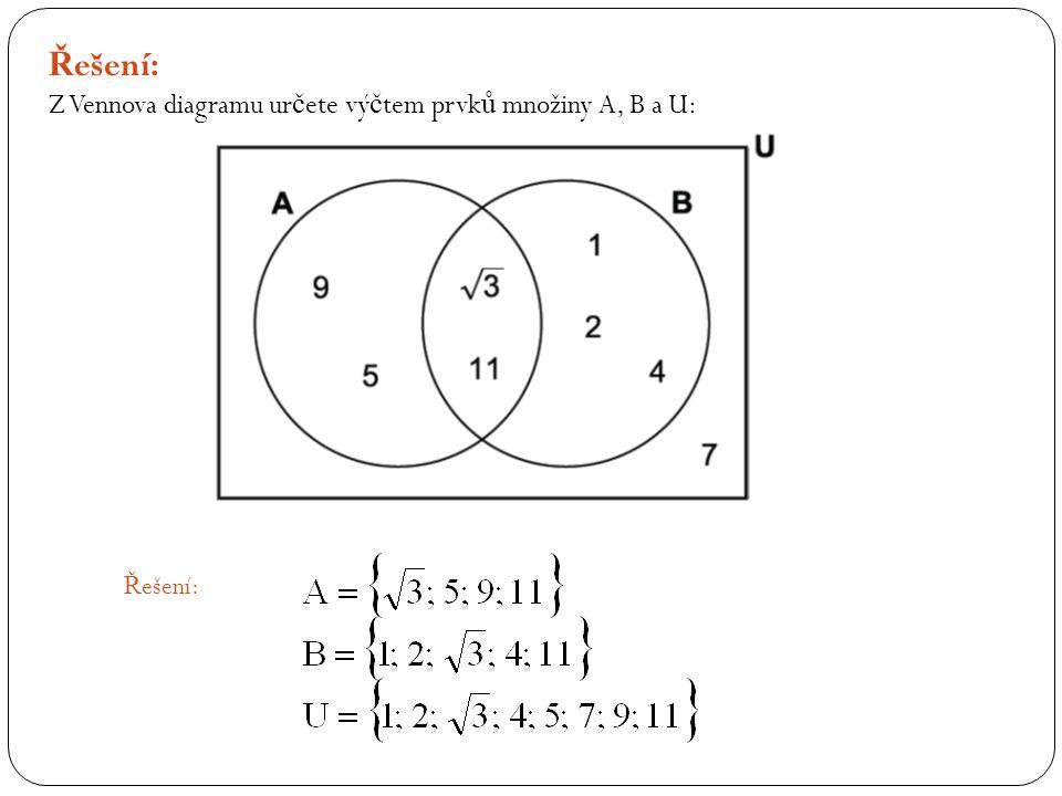 Ř ešení: Z Vennova diagramu ur č ete vý č tem prvk ů množiny A, B a U: Ř ešení: