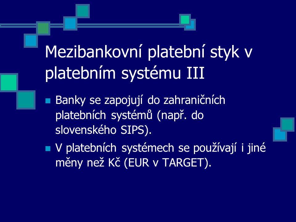 Mezibankovní platební styk v platebním systému III Banky se zapojují do zahraničních platebních systémů (např. do slovenského SIPS). V platebních syst