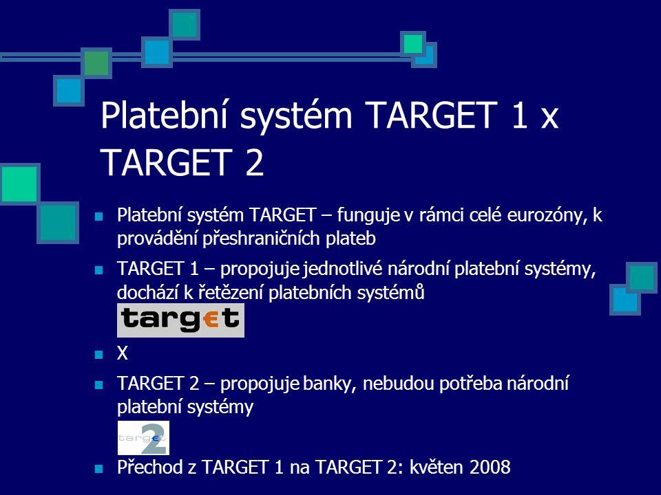 Platební systém TARGET 1 x TARGET 2 Platební systém TARGET – funguje v rámci celé eurozóny, k provádění přeshraničních plateb TARGET 1 – propojuje jednotlivé národní platební systémy, dochází k řetězení platebních systémů X TARGET 2 – propojuje banky, nebudou potřeba národní platební systémy Přechod z TARGET 1 na TARGET 2: květen 2008