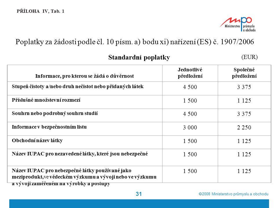  2008  Ministerstvo průmyslu a obchodu 31 PŘÍLOHA IV, Tab. 1 Poplatky za žádosti podle čl. 10 písm. a) bodu xi) nařízení (ES) č. 1907/2006 (EUR) St