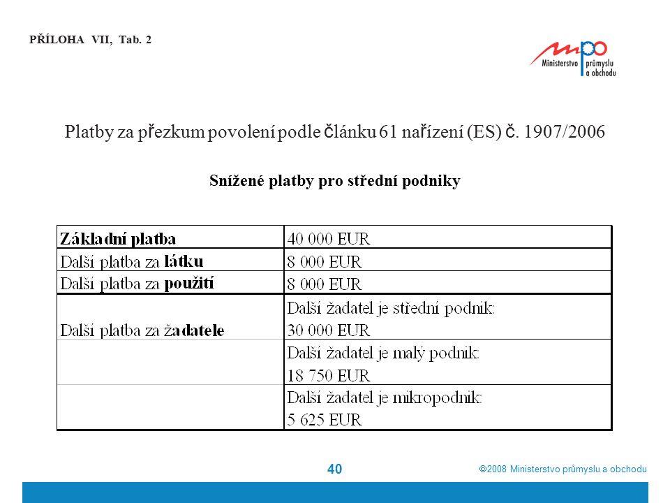  2008  Ministerstvo průmyslu a obchodu 40 PŘÍLOHA VII, Tab. 2 Platby za p ř ezkum povolení podle č lánku 61 na ř ízení (ES) č. 1907/2006 Snížené pl