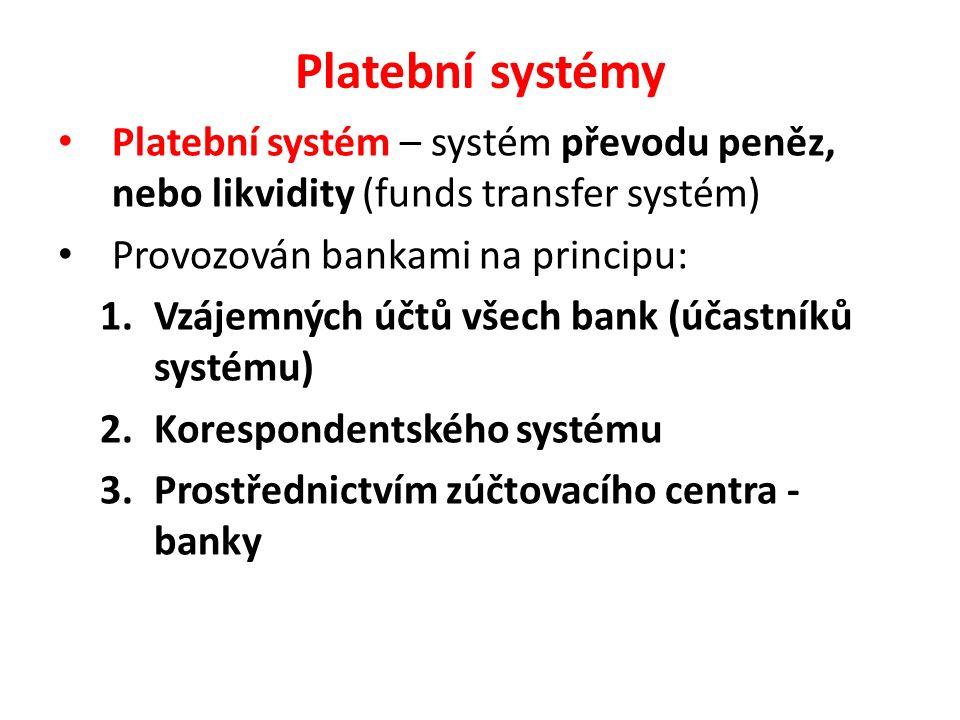 Platební systémy Platební systém – systém převodu peněz, nebo likvidity (funds transfer systém) Provozován bankami na principu: 1.Vzájemných účtů všec