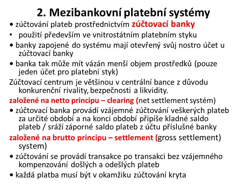 2. Mezibankovní platební systémy zúčtování plateb prostřednictvím zúčtovací banky použití především ve vnitrostátním platebním styku banky zapojené do