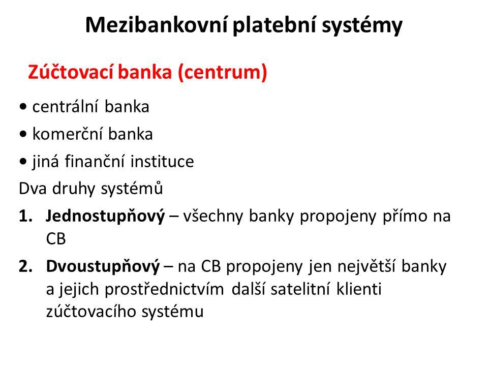 Mezibankovní platební systémy Zúčtovací banka (centrum) centrální banka komerční banka jiná finanční instituce Dva druhy systémů 1.Jednostupňový – vše