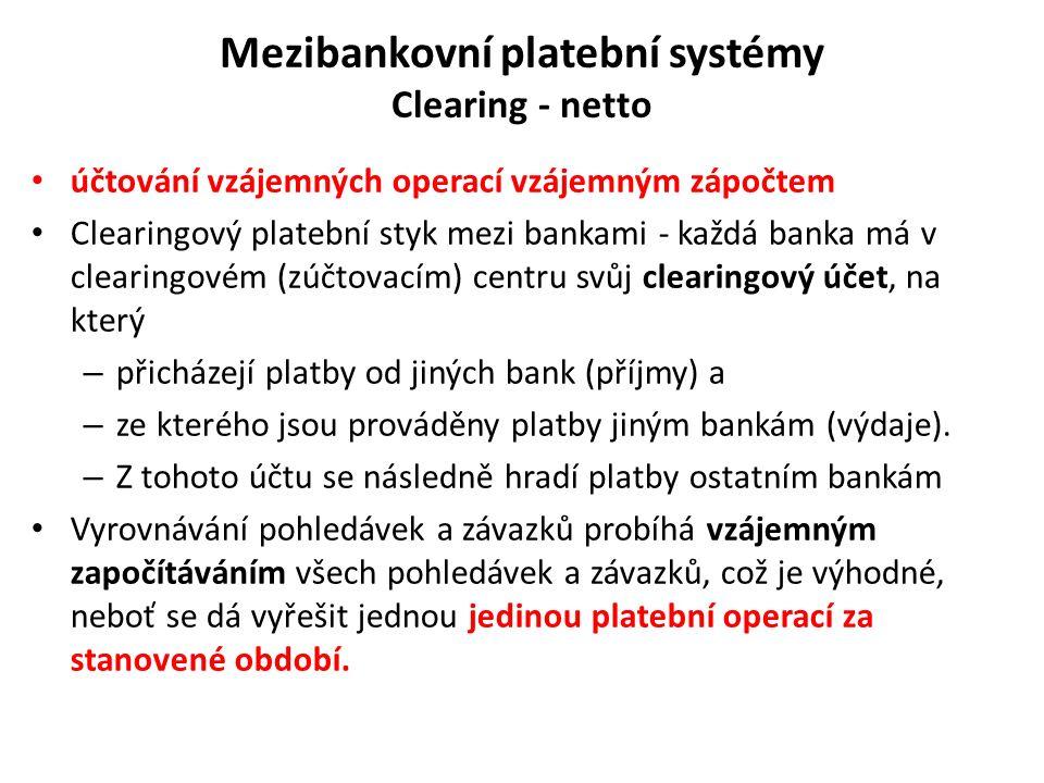 Mezibankovní platební systémy Clearing - netto účtování vzájemných operací vzájemným zápočtem Clearingový platební styk mezi bankami - každá banka má