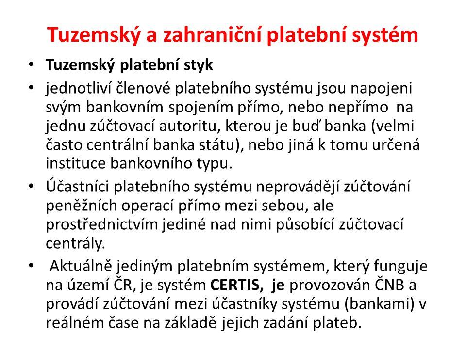 Tuzemský a zahraniční platební systém Tuzemský platební styk jednotliví členové platebního systému jsou napojeni svým bankovním spojením přímo, nebo n