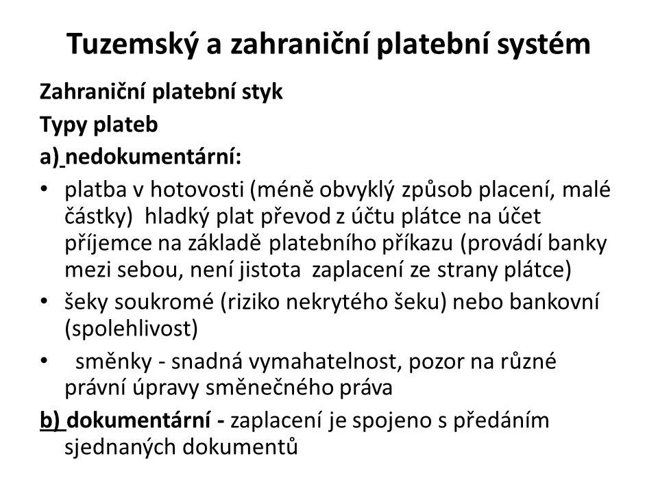 Tuzemský a zahraniční platební systém Zahraniční platební styk Typy plateb a) nedokumentární: platba v hotovosti (méně obvyklý způsob placení, malé čá