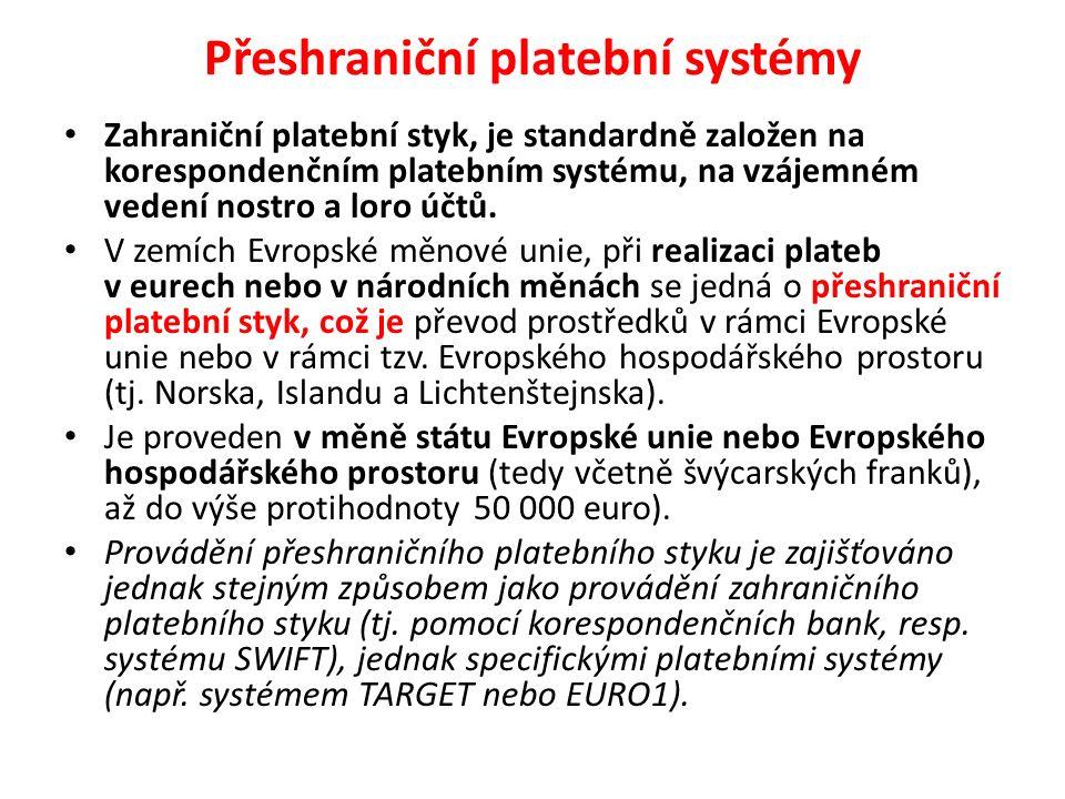 Přeshraniční platební systémy Zahraniční platební styk, je standardně založen na korespondenčním platebním systému, na vzájemném vedení nostro a loro