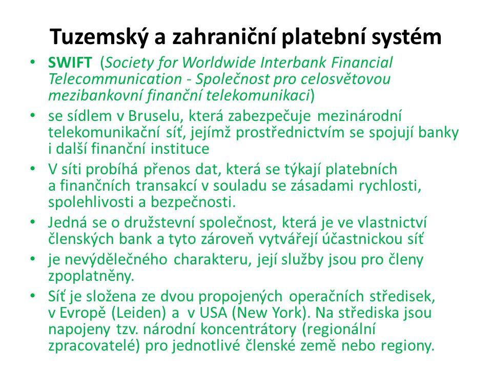 Tuzemský a zahraniční platební systém SWIFT (Society for Worldwide Interbank Financial Telecommunication - Společnost pro celosvětovou mezibankovní fi