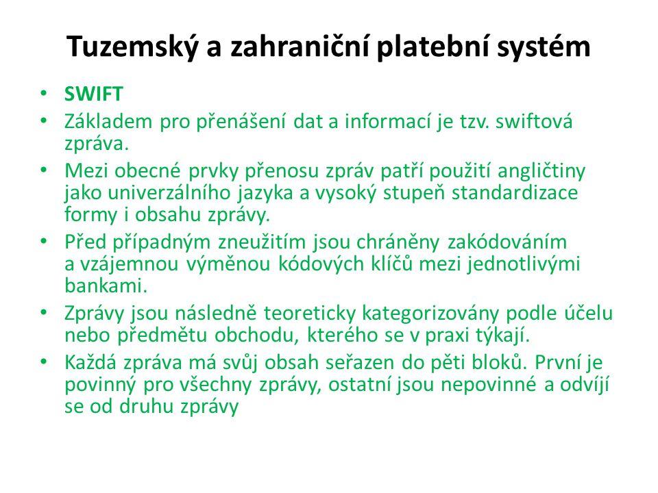 Tuzemský a zahraniční platební systém SWIFT Základem pro přenášení dat a informací je tzv. swiftová zpráva. Mezi obecné prvky přenosu zpráv patří použ