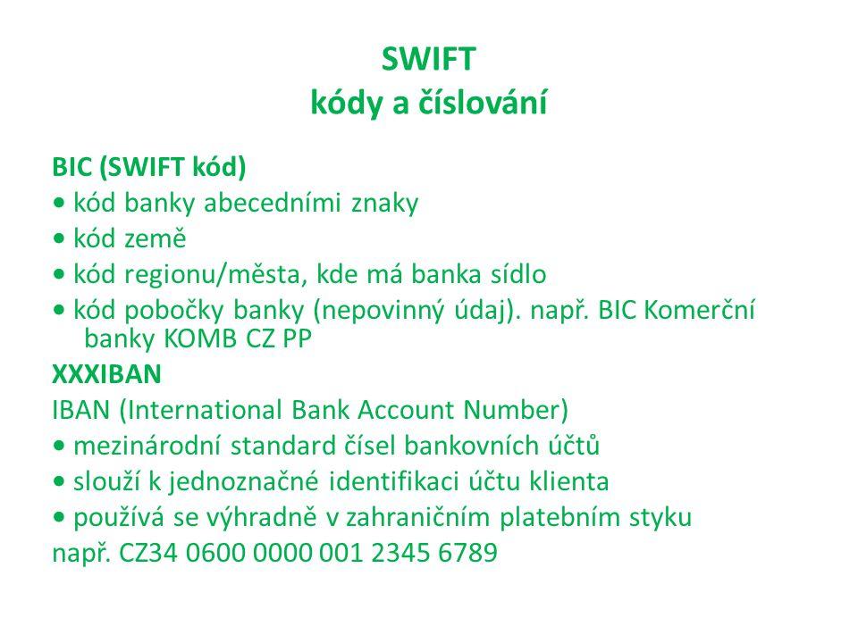 SWIFT kódy a číslování BIC (SWIFT kód) kód banky abecedními znaky kód země kód regionu/města, kde má banka sídlo kód pobočky banky (nepovinný údaj). n