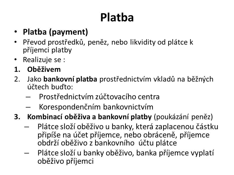 Platba Platba (payment) Převod prostředků, peněz, nebo likvidity od plátce k příjemci platby Realizuje se : 1.Oběživem 2.Jako bankovní platba prostřed