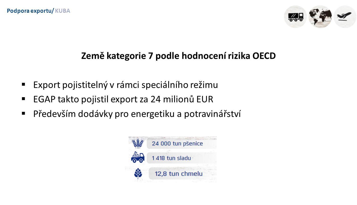 Podpora exportu/KUBA Země kategorie 7 podle hodnocení rizika OECD  Export pojistitelný v rámci speciálního režimu  EGAP takto pojistil export za 24 milionů EUR  Především dodávky pro energetiku a potravinářství