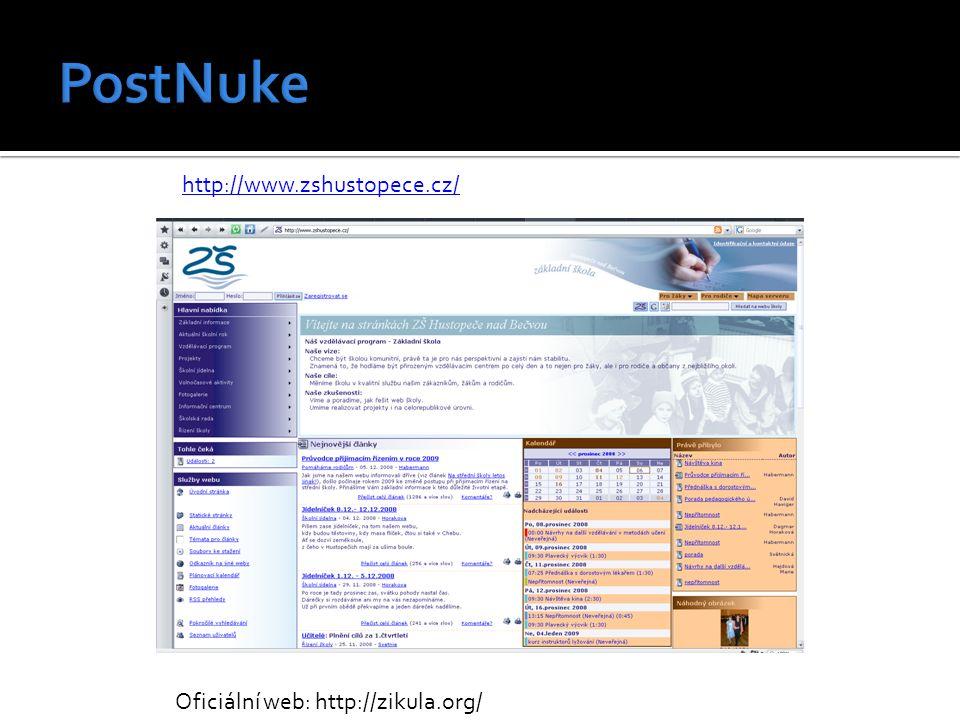 http://www.zshustopece.cz/ Oficiální web: http://zikula.org/