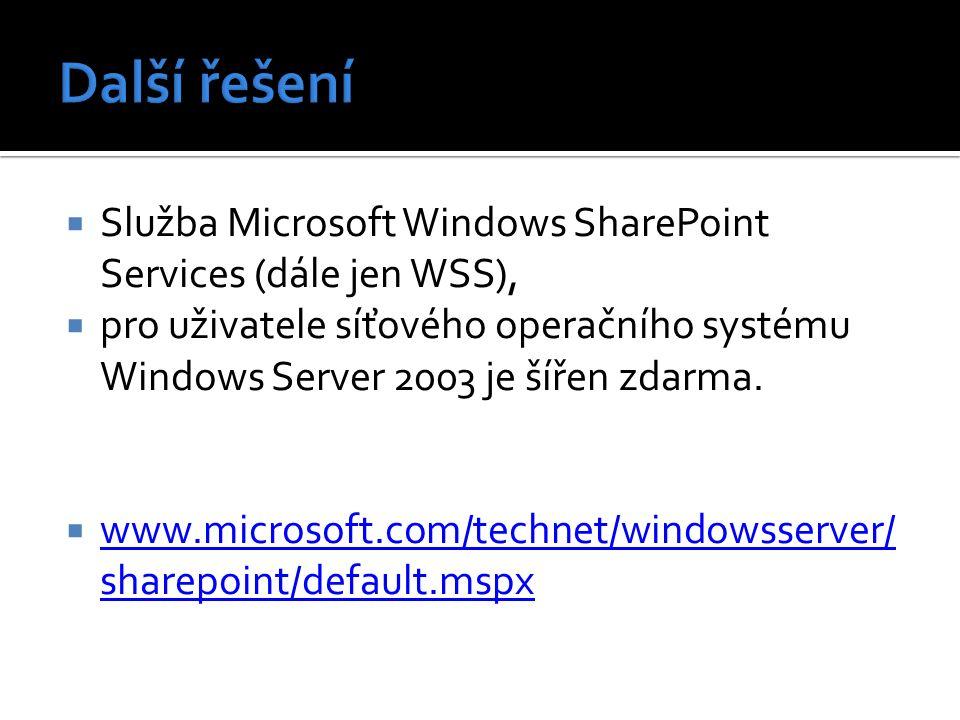  Služba Microsoft Windows SharePoint Services (dále jen WSS),  pro uživatele síťového operačního systému Windows Server 2003 je šířen zdarma.  www.