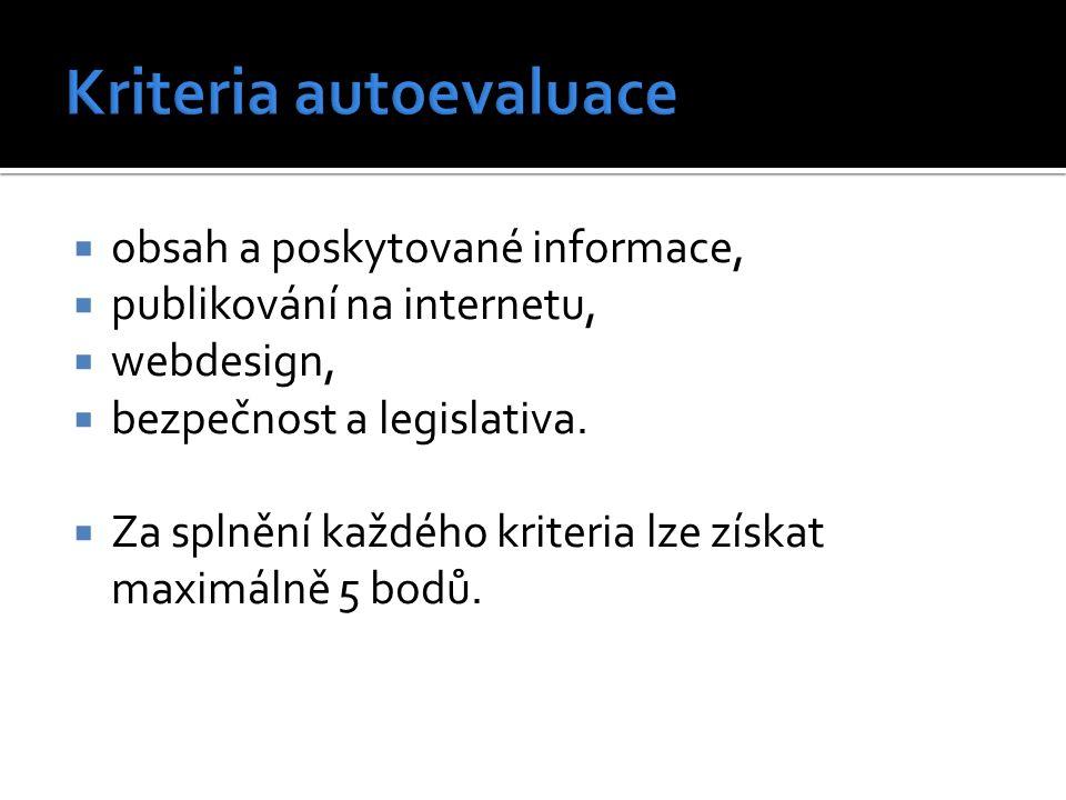  obsah a poskytované informace,  publikování na internetu,  webdesign,  bezpečnost a legislativa.