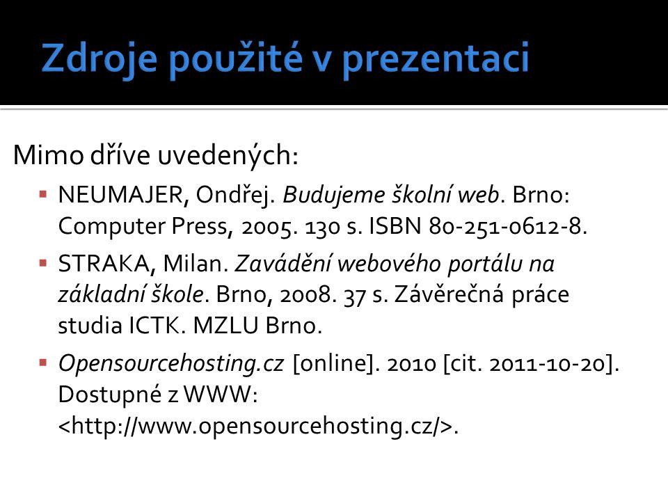 Mimo dříve uvedených:  NEUMAJER, Ondřej. Budujeme školní web. Brno: Computer Press, 2005. 130 s. ISBN 80-251-0612-8.  STRAKA, Milan. Zavádění webové