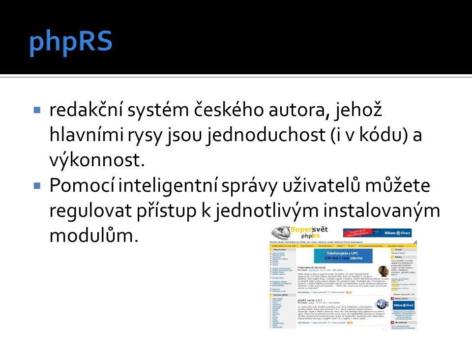  redakční systém českého autora, jehož hlavními rysy jsou jednoduchost (i v kódu) a výkonnost.  Pomocí inteligentní správy uživatelů můžete regulova