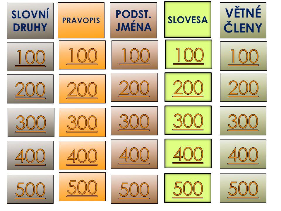 ZÁJMENO (UKAZOVACÍ) 100 SLOVNÍ DRUHY