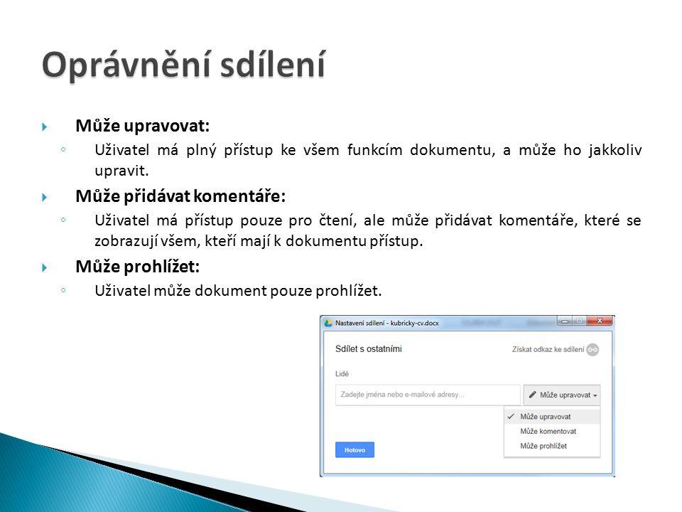  Může upravovat: ◦ Uživatel má plný přístup ke všem funkcím dokumentu, a může ho jakkoliv upravit.
