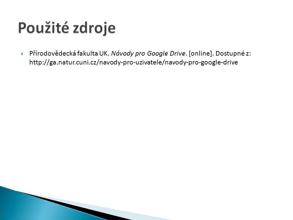  Přírodovědecká fakulta UK.Návody pro Google Drive.