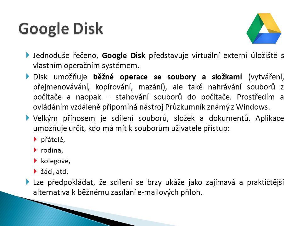  Jednoduše řečeno, Google Disk představuje virtuální externí úložiště s vlastním operačním systémem.