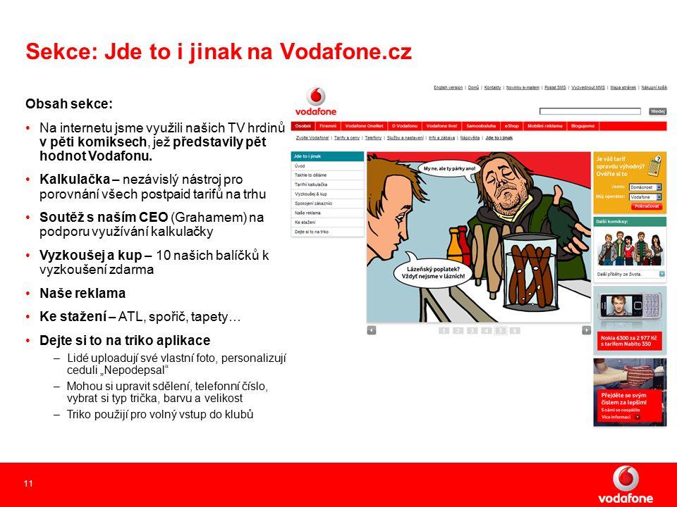 11 Sekce: Jde to i jinak na Vodafone.cz Obsah sekce: Na internetu jsme využili našich TV hrdinů v pěti komiksech, jež představily pět hodnot Vodafonu.