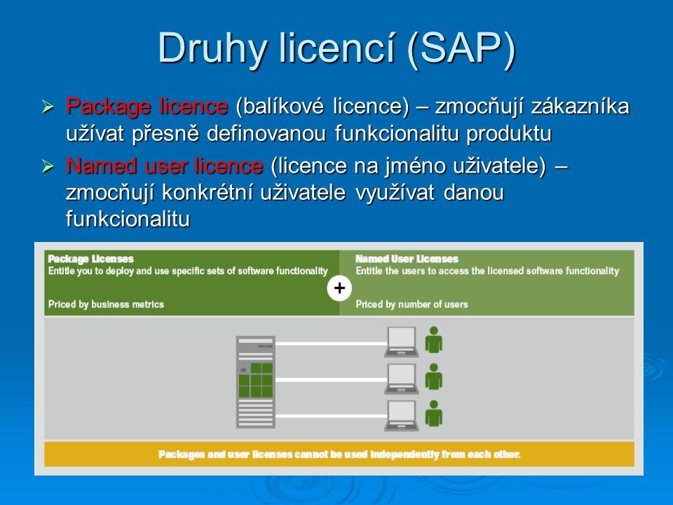 Druhy licencí (SAP)  Package licence (balíkové licence) – zmocňují zákazníka užívat přesně definovanou funkcionalitu produktu  Named user licence (licence na jméno uživatele) – zmocňují konkrétní uživatele využívat danou funkcionalitu