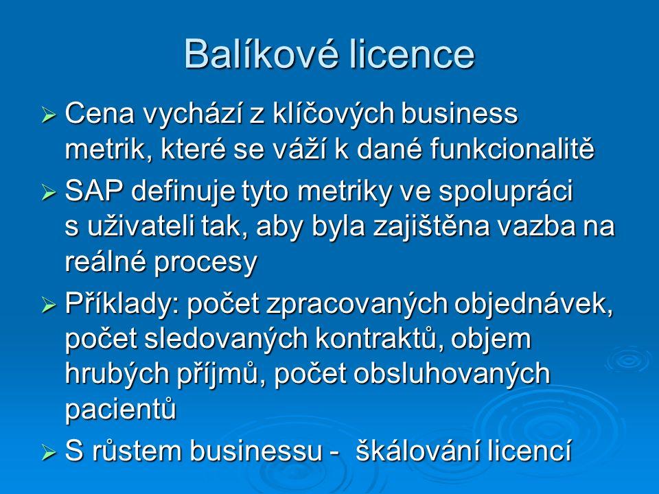 Balíkové licence  Cena vychází z klíčových business metrik, které se váží k dané funkcionalitě  SAP definuje tyto metriky ve spolupráci s uživateli tak, aby byla zajištěna vazba na reálné procesy  Příklady: počet zpracovaných objednávek, počet sledovaných kontraktů, objem hrubých příjmů, počet obsluhovaných pacientů  S růstem businessu - škálování licencí