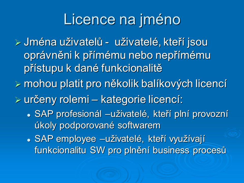 Licence na jméno  Jména uživatelů - uživatelé, kteří jsou oprávněni k přímému nebo nepřímému přístupu k dané funkcionalitě  mohou platit pro několik balíkových licencí  určeny rolemi – kategorie licencí: SAP profesionál –uživatelé, kteří plní provozní úkoly podporované softwarem SAP profesionál –uživatelé, kteří plní provozní úkoly podporované softwarem SAP employee –uživatelé, kteří využívají funkcionalitu SW pro plnění business procesů SAP employee –uživatelé, kteří využívají funkcionalitu SW pro plnění business procesů