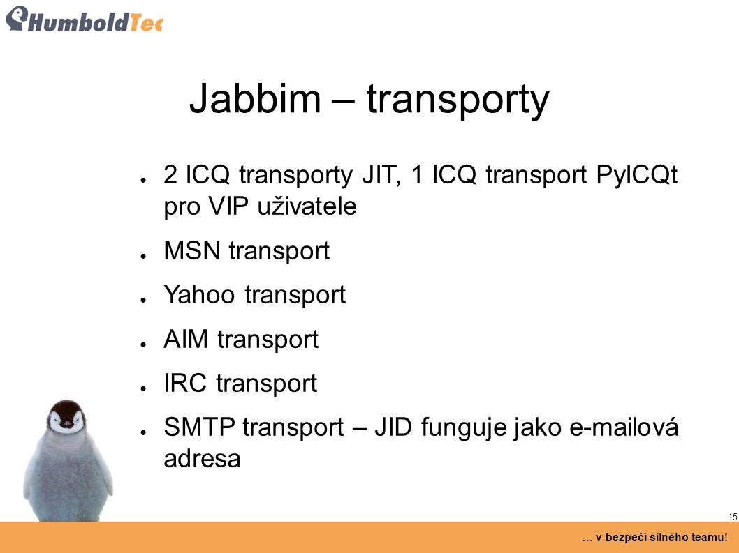 15 … v bezpečí silného teamu! Jabbim – transporty ● 2 ICQ transporty JIT, 1 ICQ transport PyICQt pro VIP uživatele ● MSN transport ● Yahoo transport ●