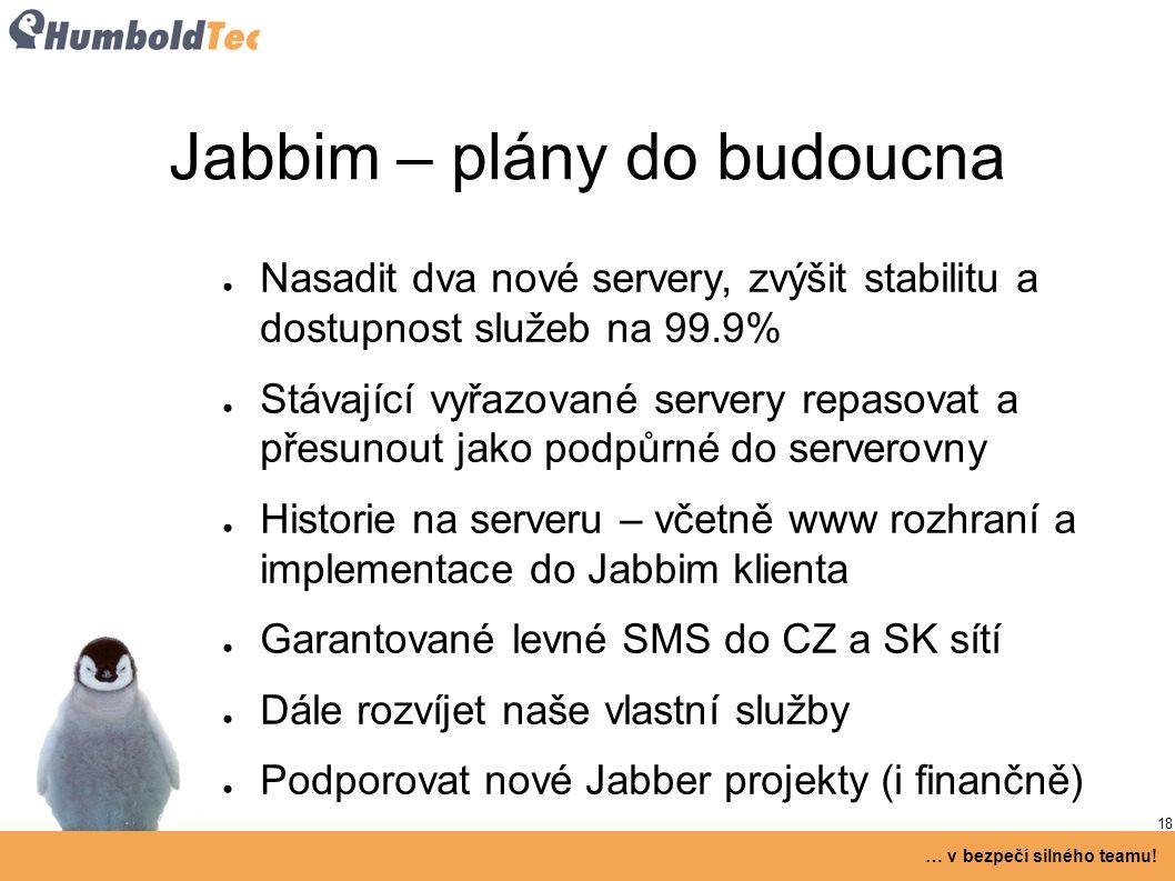 18 … v bezpečí silného teamu! Jabbim – plány do budoucna ● Nasadit dva nové servery, zvýšit stabilitu a dostupnost služeb na 99.9% ● Stávající vyřazov